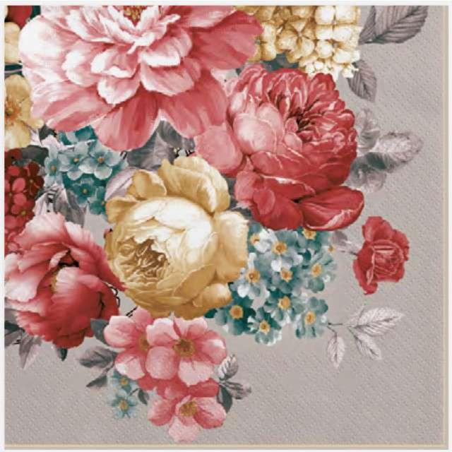 """Serwetki """"Bukiet pastelowych kwiatów"""", szare, MAKI, 33 cm, 20 szt"""