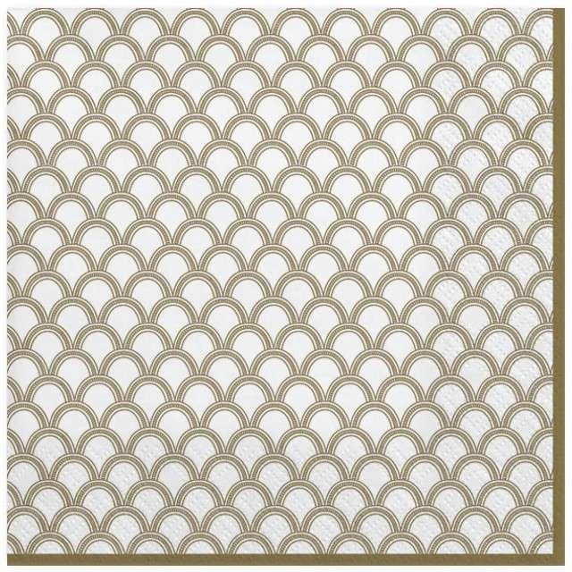 """Serwetki """"Złote łuki z kropkami"""", białe, MAKI, 33 cm, 20 szt"""