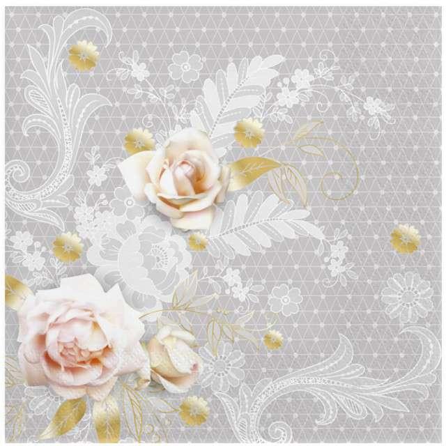 """Serwetki """"Szary wzór z różami"""", MAKI, 33 cm, 20 szt"""