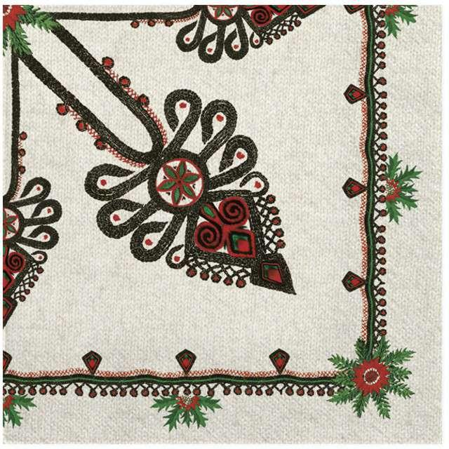 """Serwetki """"Ludowe - parzenica"""", białe, MAKI, 33 cm, 20 szt"""