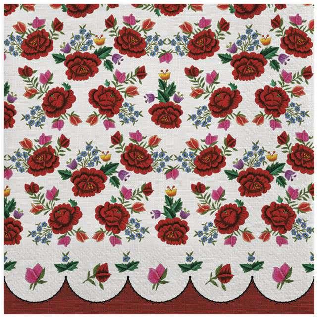 "Serwetki ""Haftowane róże"", MAKI, 33 cm, 20 szt"