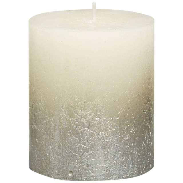 """Świeca pieńkowa """"Rustic Ombre"""", srebrno kremowa, Bolsius, 80/68 mm"""