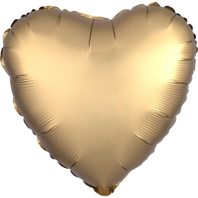 """Balon foliowy """"Serce satynowe"""", złoty, Amscan, 17"""", HRT"""