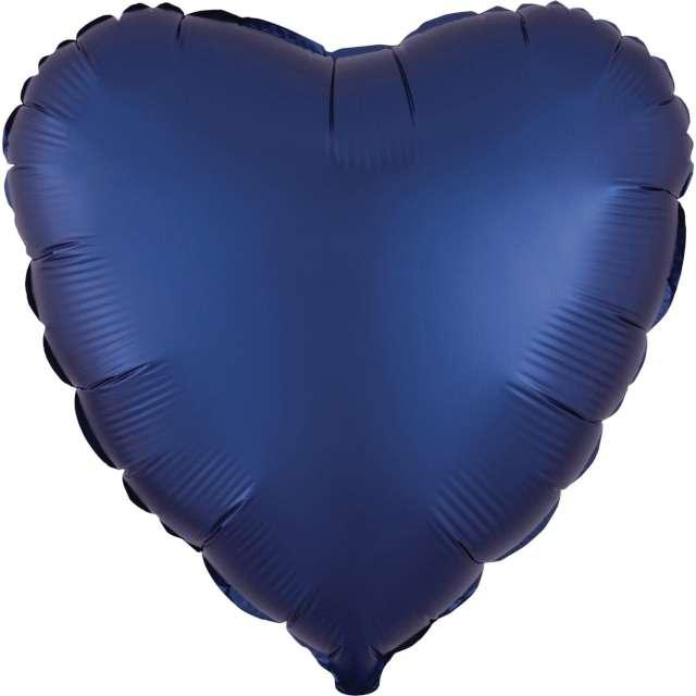 """Balon foliowy """"Serce satynowe"""", granatowy, Amscan, 17"""", HRT"""