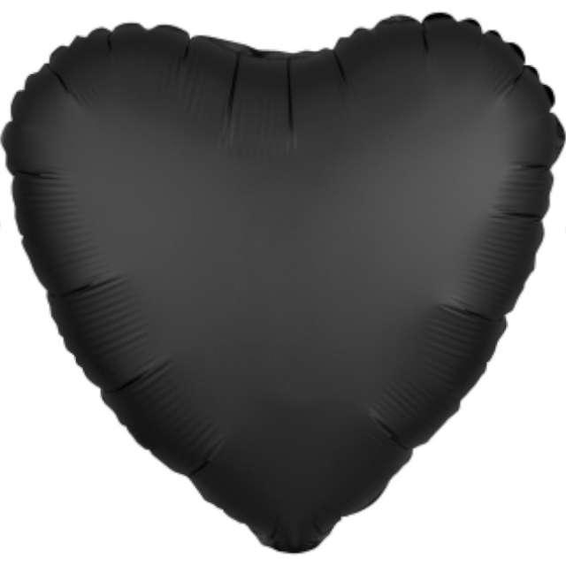 "Balon foliowy ""Serce satynowe"", czarny, Amscan, 17"", HRT"