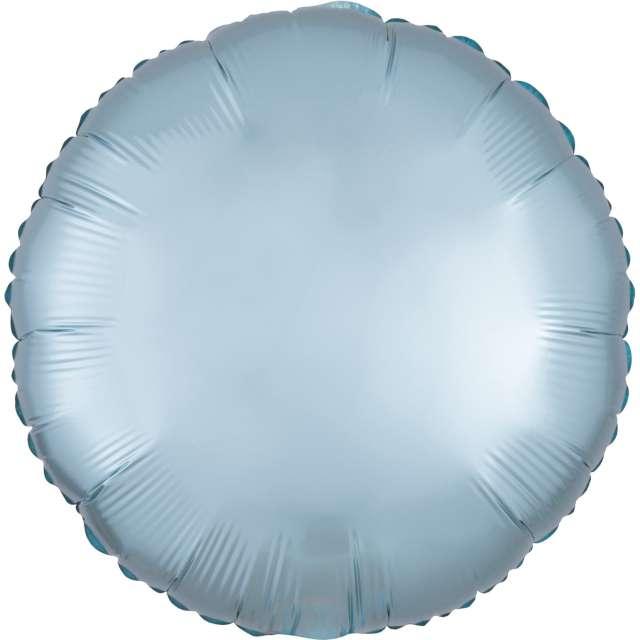 """Balon foliowy """"Okrągły satynowy"""", niebieski jasny, Amscan, 17"""", RND"""