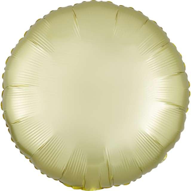 """Balon foliowy """"Okrągły satynowy"""", żółty jasny, Amscan, 17"""", RND"""