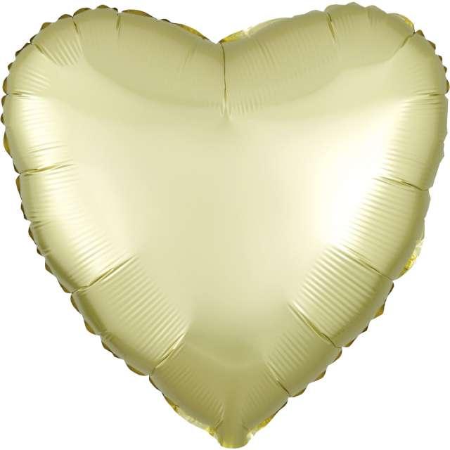 """Balon foliowy """"Serce satynowe"""", żółty jasny, Amscan, 17"""", HRT"""