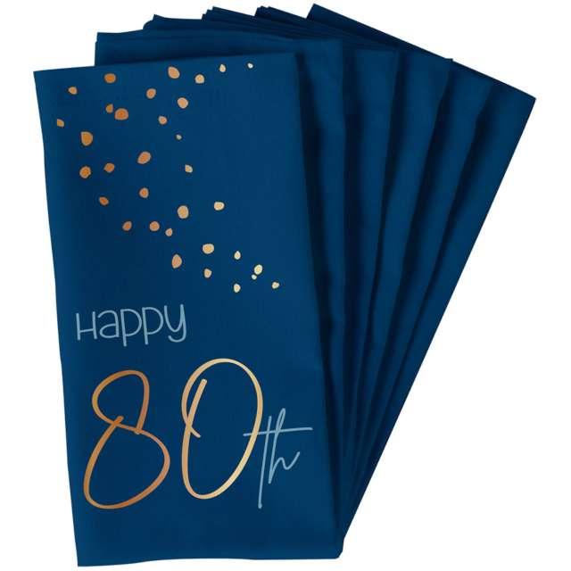 "Serwetki ""Happy 80th - Elegant True Blue"", niebieski, Folat, 33 cm, 10 szt"