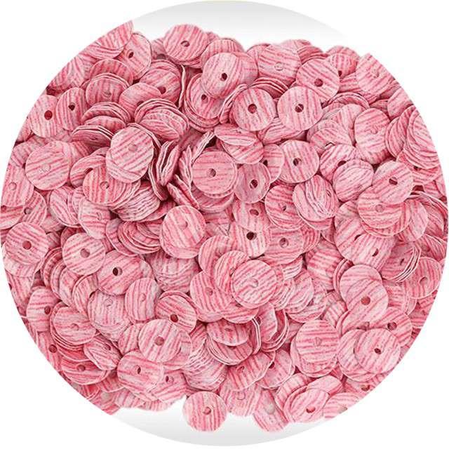 """Cekiny """"Paski"""", różowo-białe, 7 mm, 10 g, Titanum"""