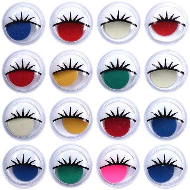 """Oczka """"Kolorowe z rzęsami"""", Titanum, 15 mm, 16 szt"""