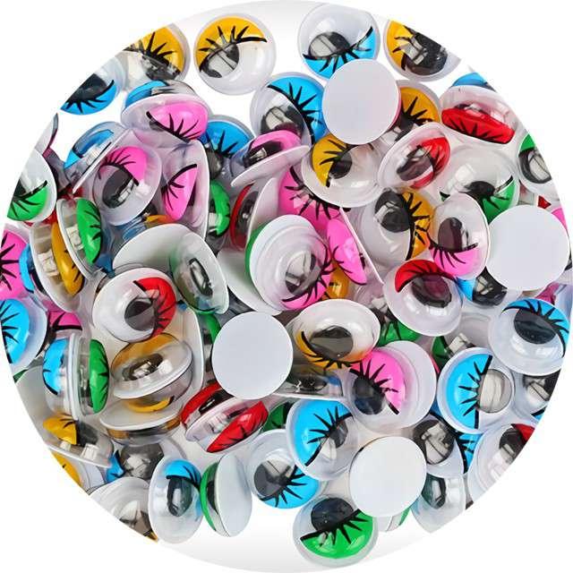 """Oczka """"Kolorowe z rzęsami"""", Titanum, 10 mm, 100 szt"""