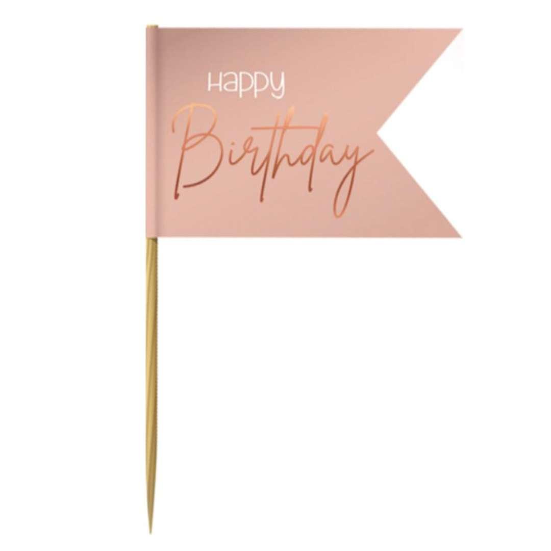 """Pikery """"Chorągiewki Happy Birthday"""", różowe, Folat, 36 szt."""