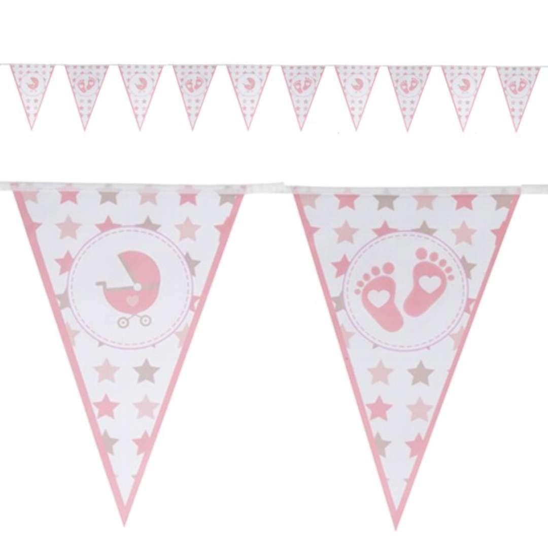 "Baner flagi ""Baby Shower Girl - Stópki"", różowy, Czakos, 400 cm"