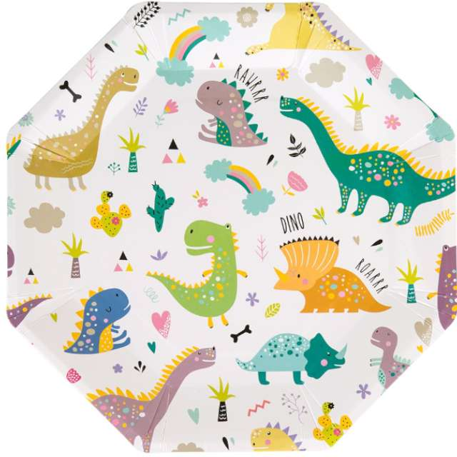"""Talerzyki papierowe """"Dinozaury"""", Czakos, 18 cm, 6 szt"""