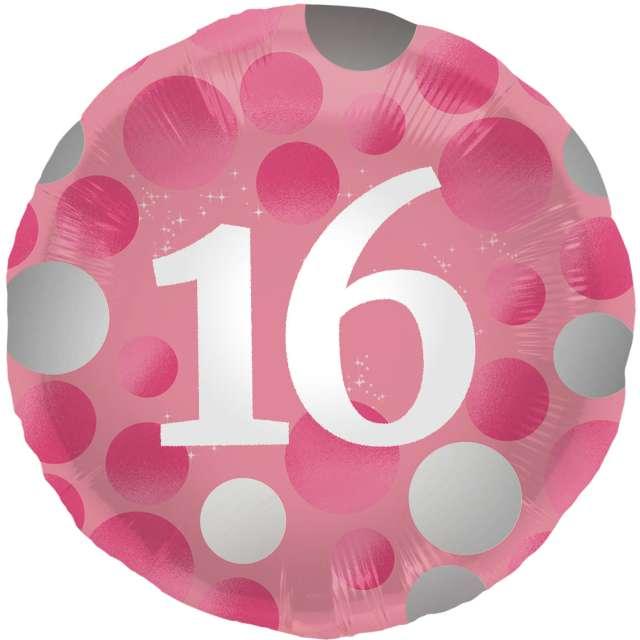 """Balon foliowy """"Glossy - 16 Urodziny"""", różowy, Folat, 17"""", RND"""