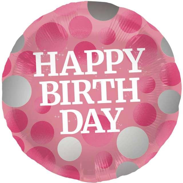 "Balon foliowy ""Glossy - Happy Birthday"", różowy, Folat, 17"", RND"