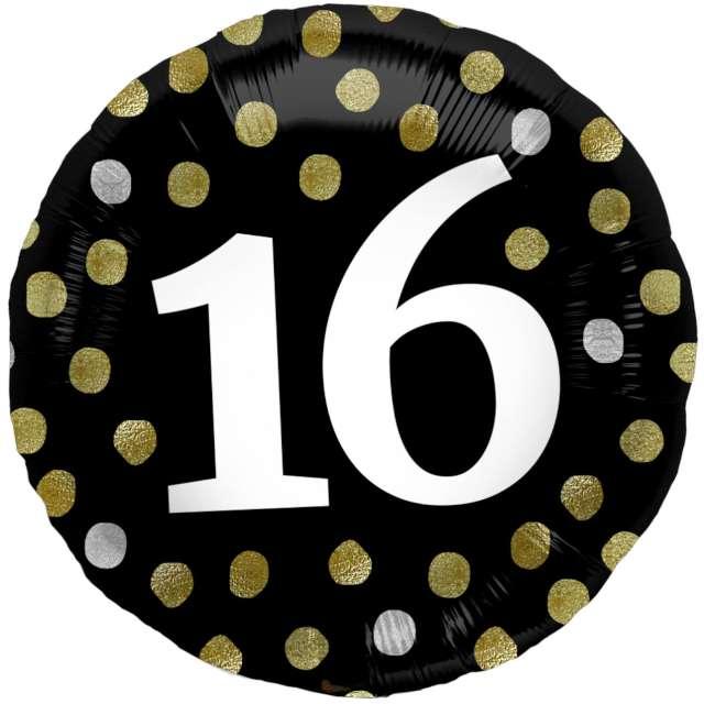 """Balon foliowy """"Glossy - 16 Urodziny"""", czarne, Folat, 17"""", RND"""