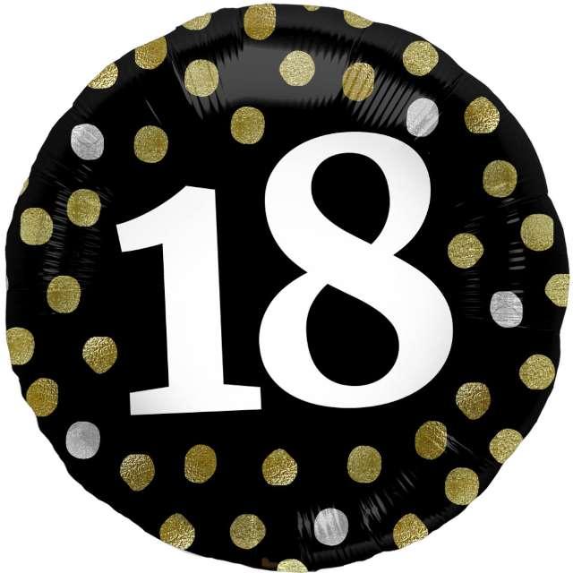 """Balon foliowy """"Glossy - 18 Urodziny"""", czarne, Folat, 17"""", RND"""