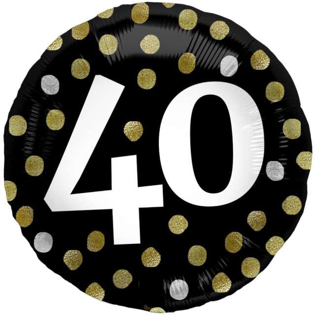 """Balon foliowy """"Glossy - 40 Urodziny"""", czarne, Folat, 17"""", RND"""