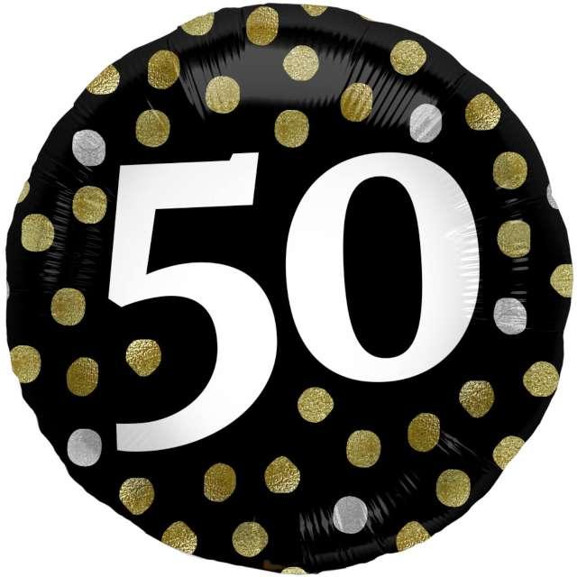 """Balon foliowy """"Glossy - 50 Urodziny"""", czarne, Folat, 17"""", RND"""