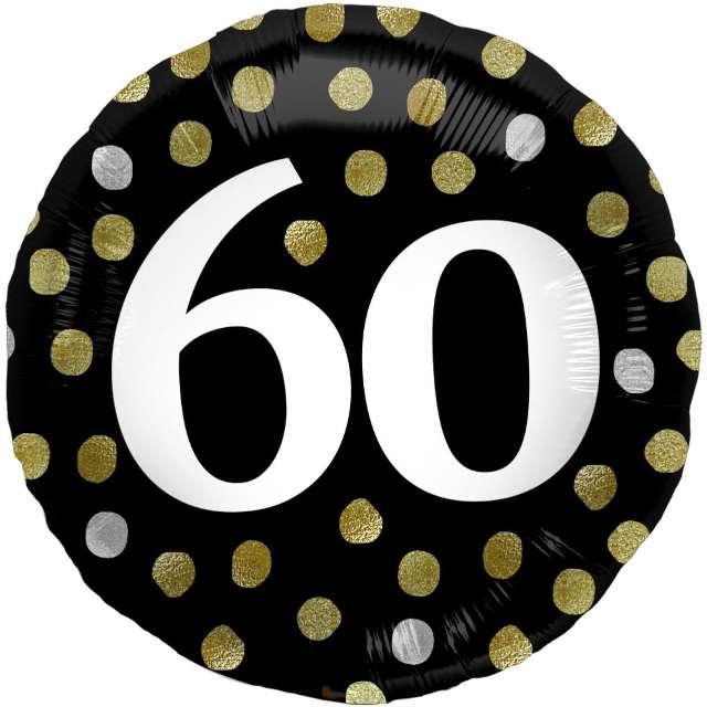 """Balon foliowy """"Glossy - 60 Urodziny"""", czarny, Folat, 17"""", RND"""