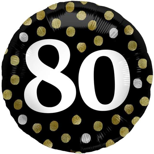 """Balon foliowy """"Glossy - 80 Urodziny"""", czarny, Folat, 17"""", RND"""