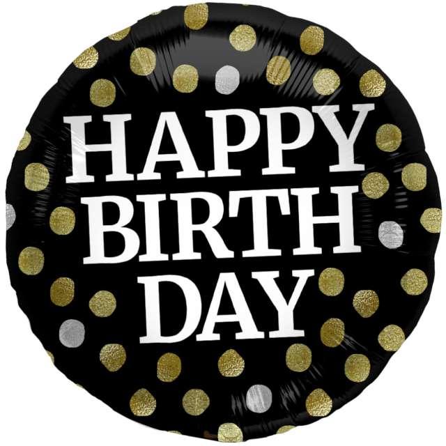 "Balon foliowy ""Glossy - Happy Birthday"", czarny, Folat, 17"", RND"