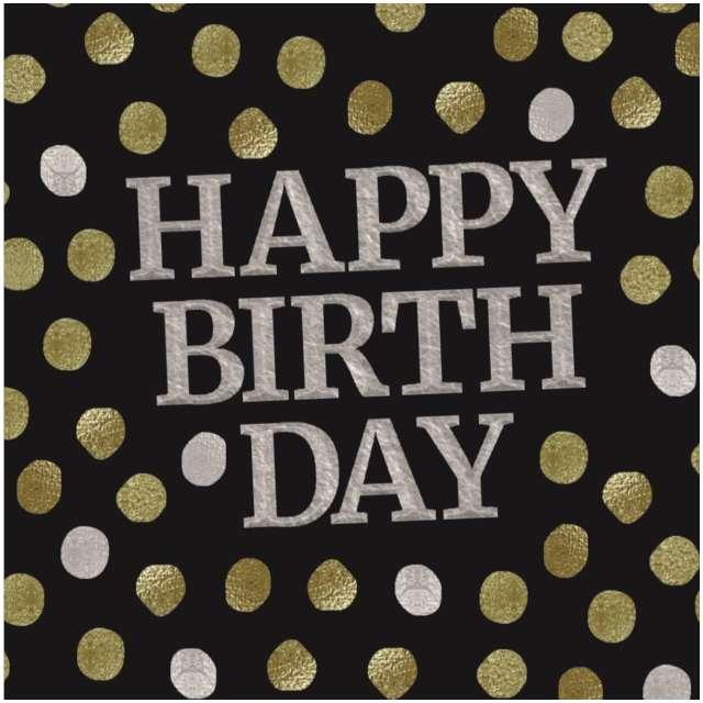 """Serwetki """"Glossy - Happy Birthday"""", czarne, 33 cm, 20 szt"""