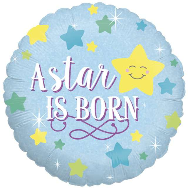 "Balon foliowy ""Baby shower - boy star"", holo, Grabo, 18"", RND"