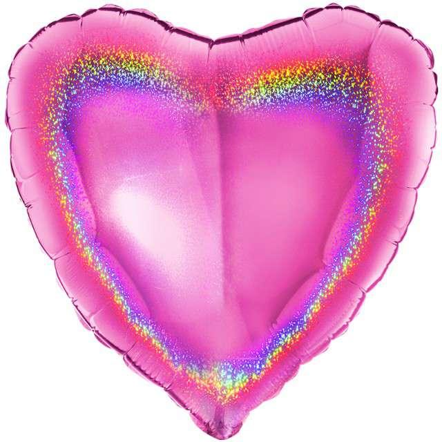 """Balon foliowy """"Serca holo"""", różowy, Grabo, 18"""", HRT"""