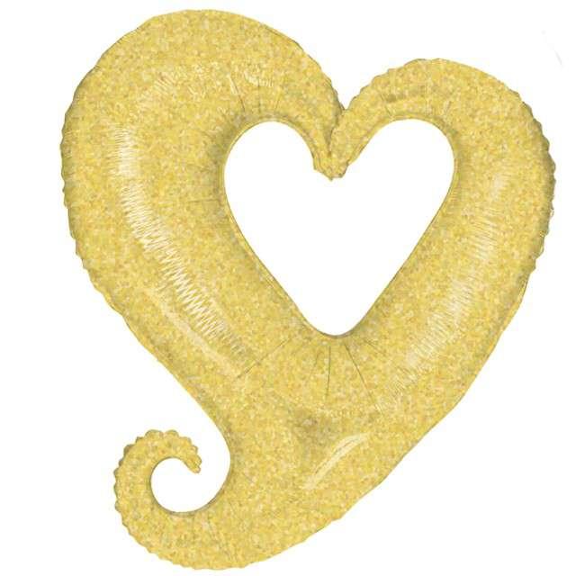 "Balon foliowy ""Dziurawe serce holo"", złote, Grabo, 37"", SHP"
