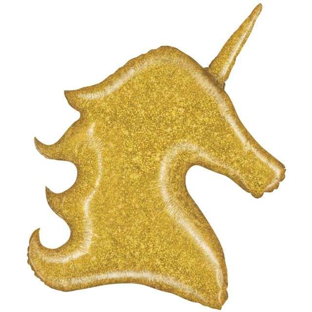 Balon foliowy Głowa jednorożca brokat złoty Grabo 38. SHP