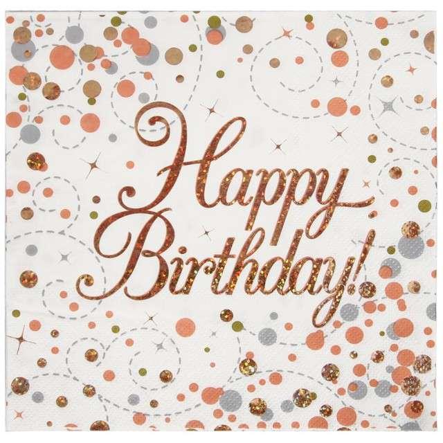 """Serwetki """"Błyszczące Happy Birthday"""", różowe złoto, Oaktree, 33 cm, 16 szt."""