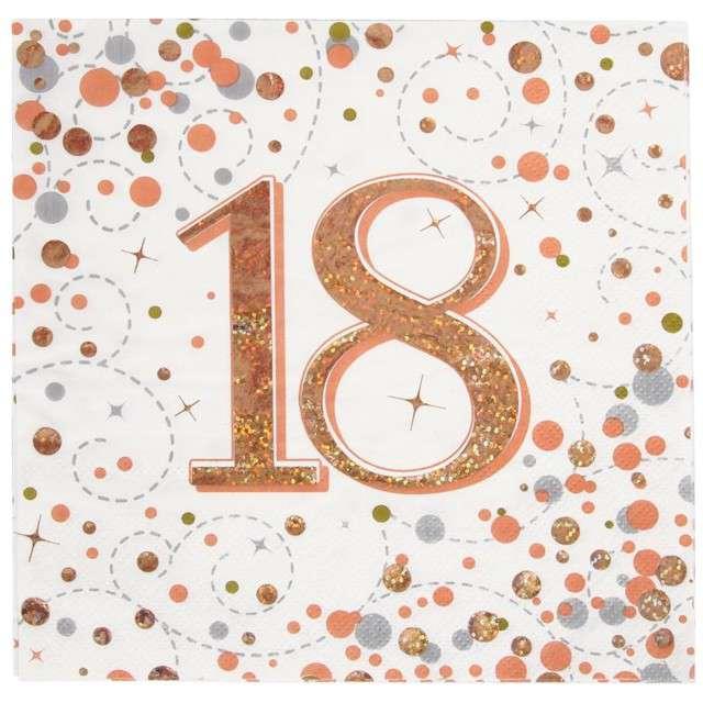 """Serwetki """"Błyszczące 18 urodziny"""", różowe złoto, Oaktree, 33 cm, 16 szt."""