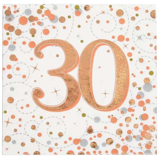 """Serwetki """"Błyszczące 30 urodziny"""", różowe złoto, Oaktree, 33 cm, 16 szt."""