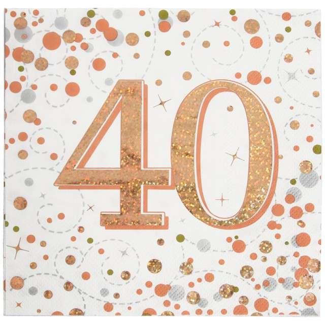 """Serwetki """"Błyszczące 40 urodziny"""", różowe złoto, Oaktree, 33 cm, 16 szt."""