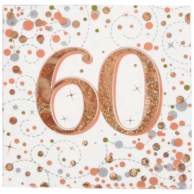 """Serwetki """"Błyszczące 60 urodziny"""", różowe złoto, Oaktree, 33 cm, 16 szt."""