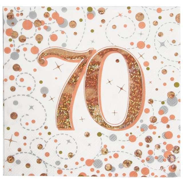 """Serwetki """"Błyszczące 70 urodziny"""", różowe złoto, Oaktree, 33 cm, 16 szt."""