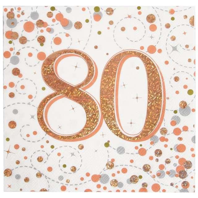 """Serwetki """"Błyszczące 80 urodziny"""", różowe złoto, Oaktree, 33 cm, 16 szt."""