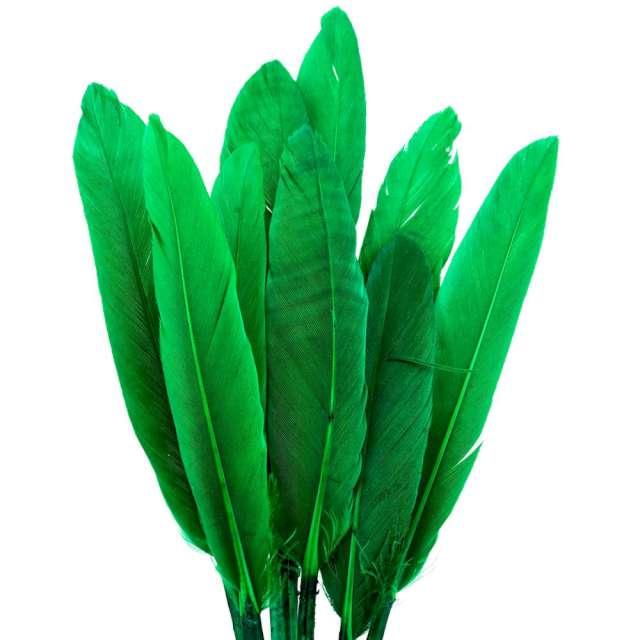 """Piórka dekoracyjne """"Lotki - krótkie"""", zielone, Czakos, 18 szt"""