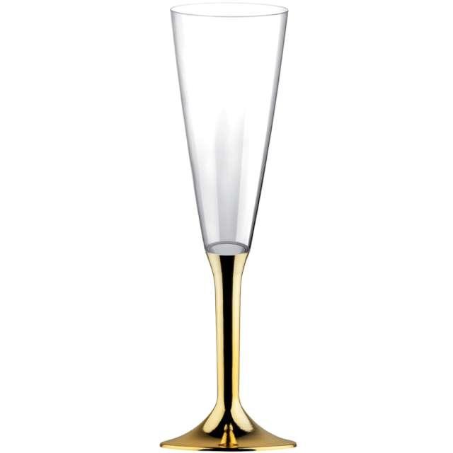 """Kieliszki jednorazowe """"Szampan Long XL"""", złote chrom, GoldPlast, 160 ml, 10 szt"""