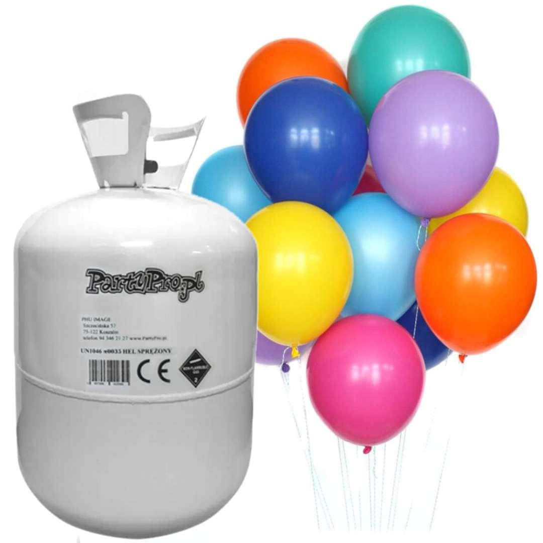 "Butla jednorazowa z helem ""Standard 30"" +balony, PartyPro"