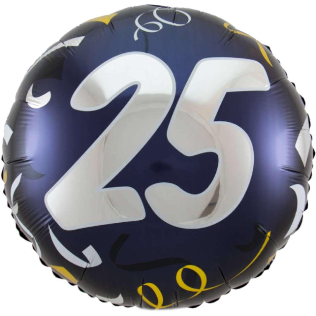 """Balon foliowy """"Happy Birthday, Urodziny - 25"""", granatowy, Folat, 18"""""""