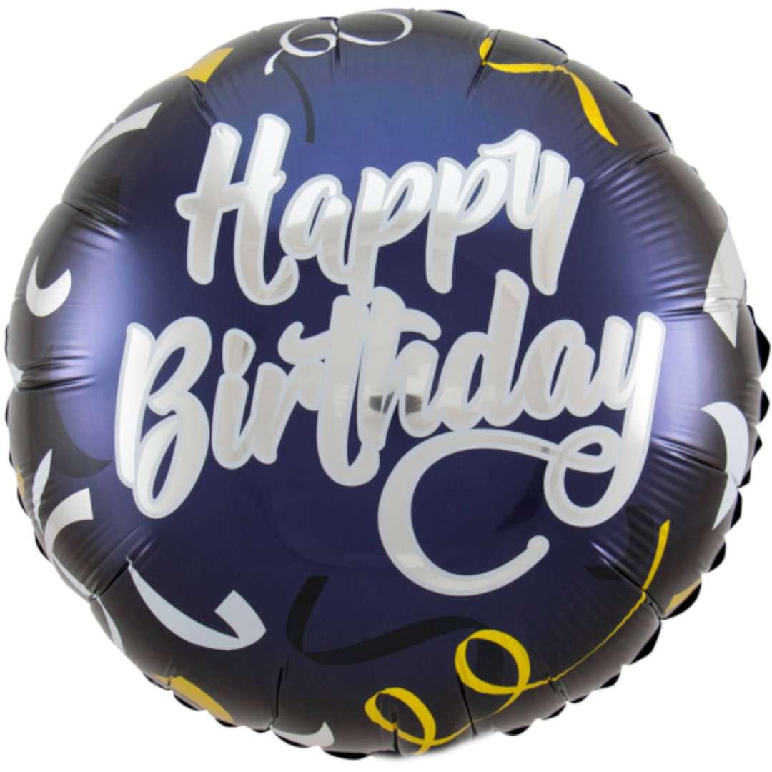 """Balon foliowy """"Happy Birthday, Urodziny"""", granatowy, Folat, 18"""""""