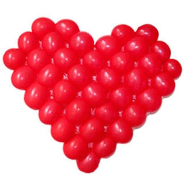 """Balony """"Serce z siatką"""", czerwony, Funny Fashion, zestaw"""