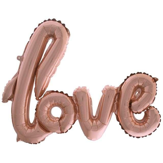 """Balon foliowy """"Love"""", różowe złoto, Funny Fashion, 40"""" SHP"""