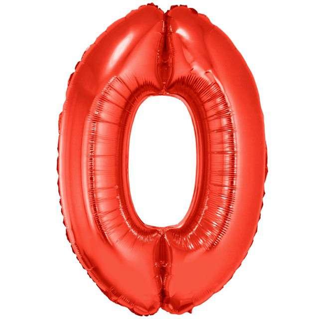 """Balon foliowy """"Cyfra 0"""", czerwony, Funny Fashion, 40"""""""