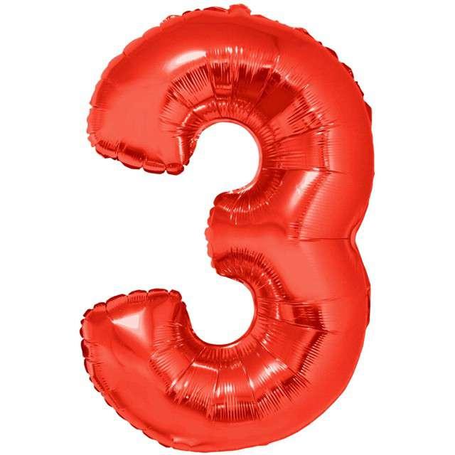 """Balon foliowy """"Cyfra 3"""", czerwony, Funny Fashion, 40"""""""
