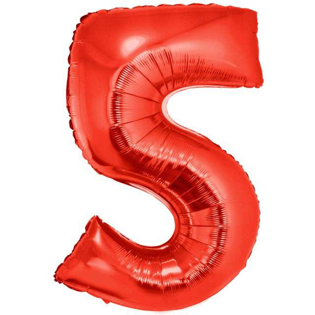 """Balon foliowy """"Cyfra 5"""", czerwony, Funny Fashion, 40"""""""